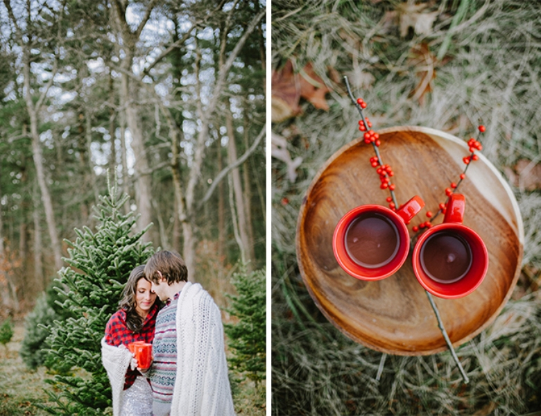 Picture Of cozy and intimate christmas tree farm love shoot  7
