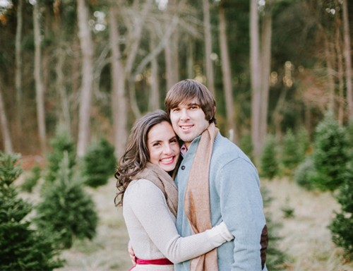Cozy And Intimate Christmas Tree Farm Love Shoot