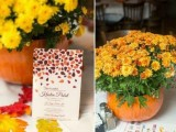 a cute fall bridal shower centerpiece of a pumpkin and bright blooms will also fit a fall wedding
