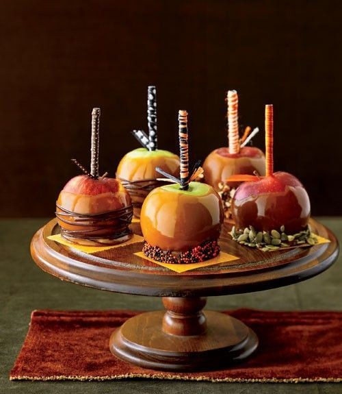 candied apples with various toppings are delicious and very fall-like