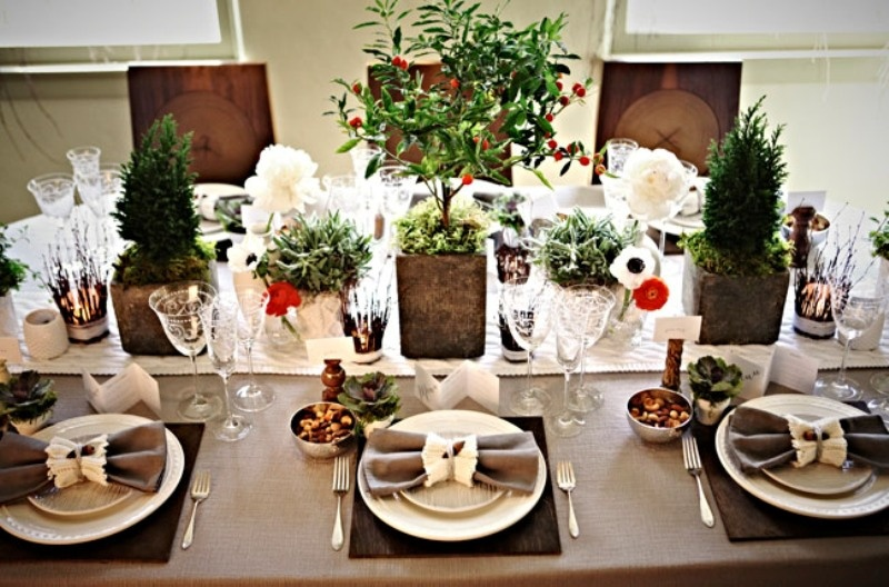 Picture of cozy winter decor ideas for your wedding for Decoration florale table