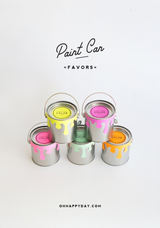 Picture Of creative and cute diy paint can guests favors  3