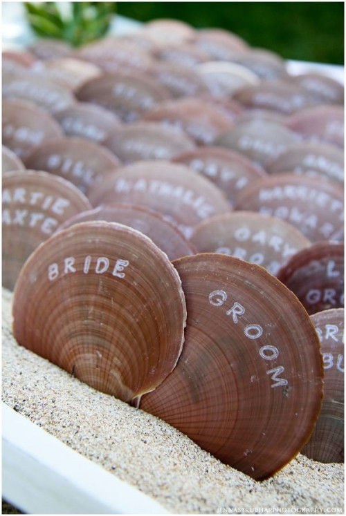 large seashells with names are a cool idea for a beach or coastal wedding