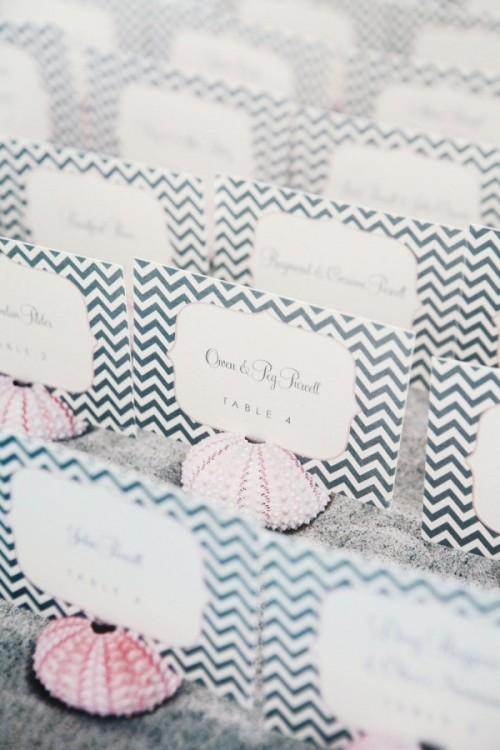 Creative Beach Wedding Escort Cards