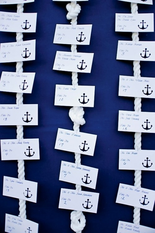 a navy backdrop with rope with knots and nautical cards with anchors is a bold and contrasting way to go for