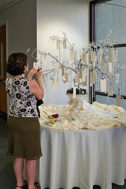 an embellished tree with crystals and name tags as a creative and cool fall wedding guest book
