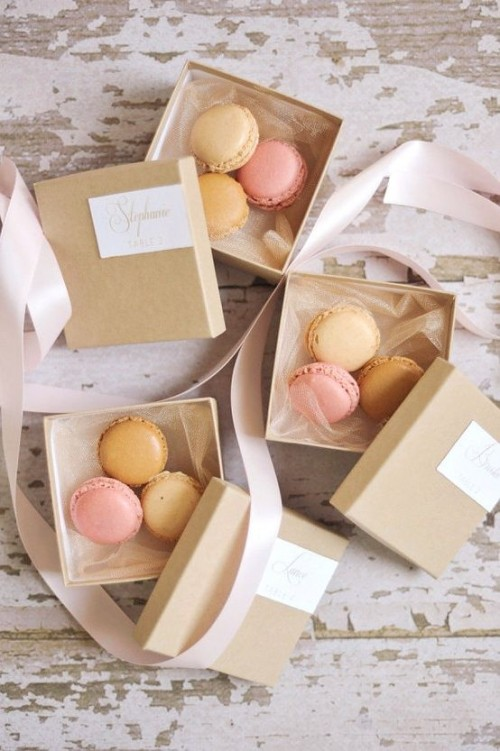 boxes with various macarons will always be a good idea for a wedding favor, for any wedding theme and season