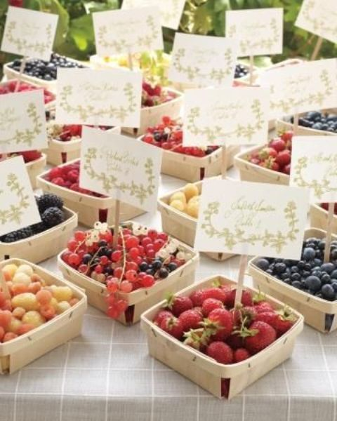 wooden boxes with fresh berries and tags are delicious summer wedding favors, healthy and cool - let your guests choose themselves