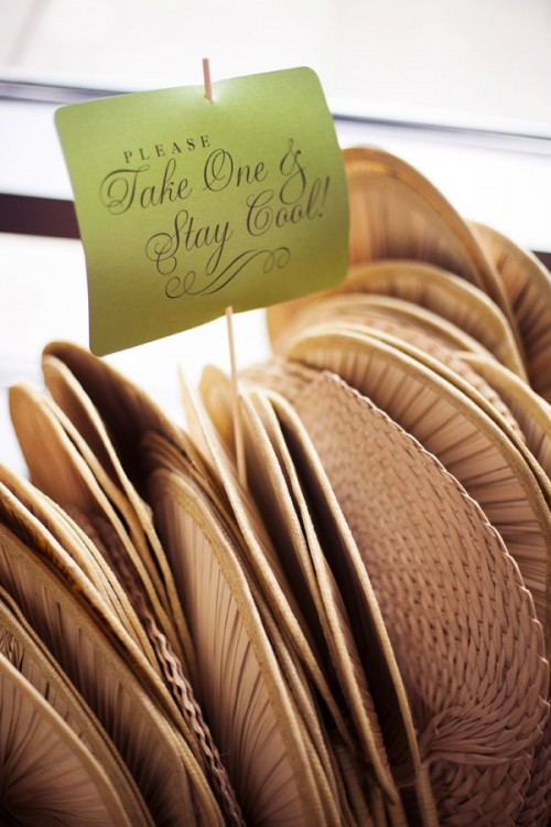wicker fans will make your guests feel comfortable and fresh if your wedding is on a hot day