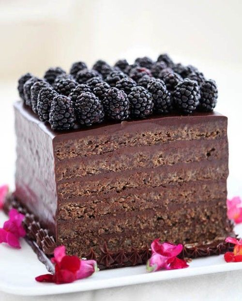 a chocolate cake topped with blackberries is a lovely and gorgeous wedding dessert to enjoy