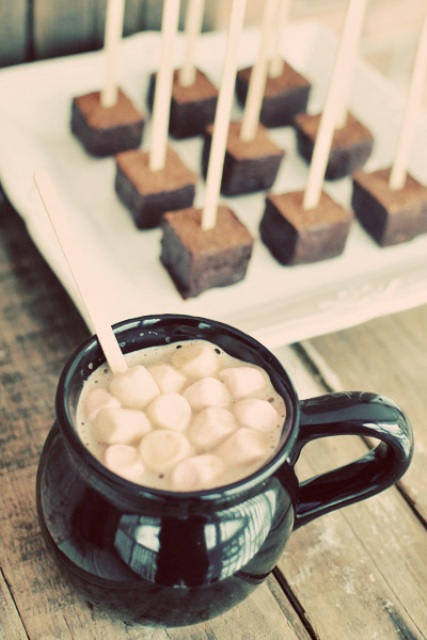 chocolate popsicles on sticks and hot cocoa are all your guests need at a winter or Christmas wedding