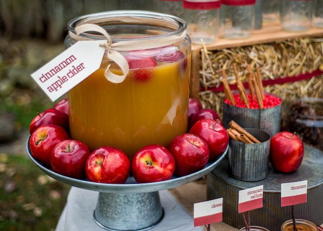 a fall cider bar is a gorgeous idea for a fall wedding, especially a rustic one
