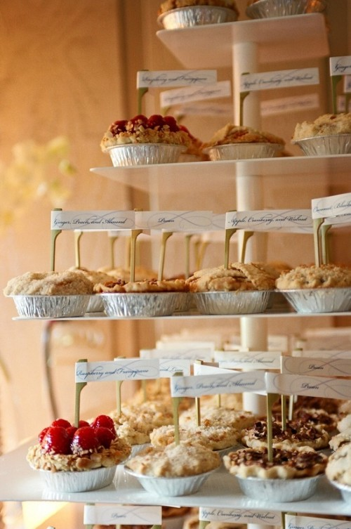 a fall wedding dessert bar with cute and tasty mini pies is right what you need to make your wedding cozier