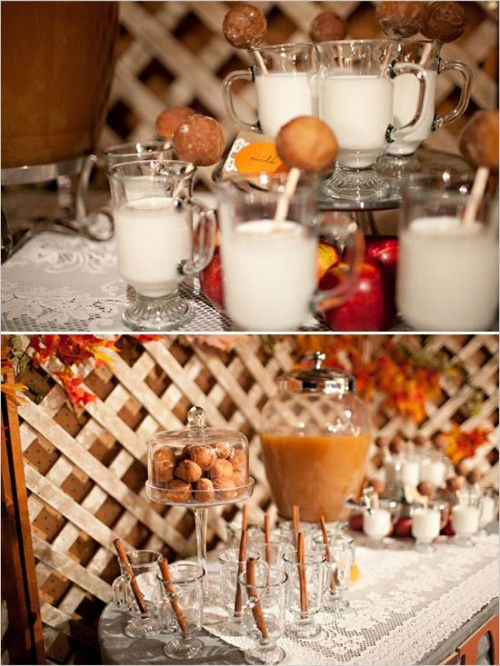a milk and cider bar with donuts is a very cozy and delicious bar idea for a fall wedding, it will brign a rustic and casual feel