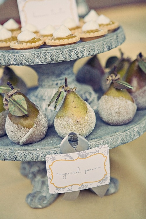 add caramelized pears to your fall wedding dessert table, pears are about fall just like apples