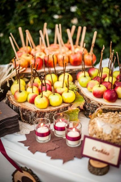 a fall wedding apple bar - what can be more natural than that, add other fall fruits