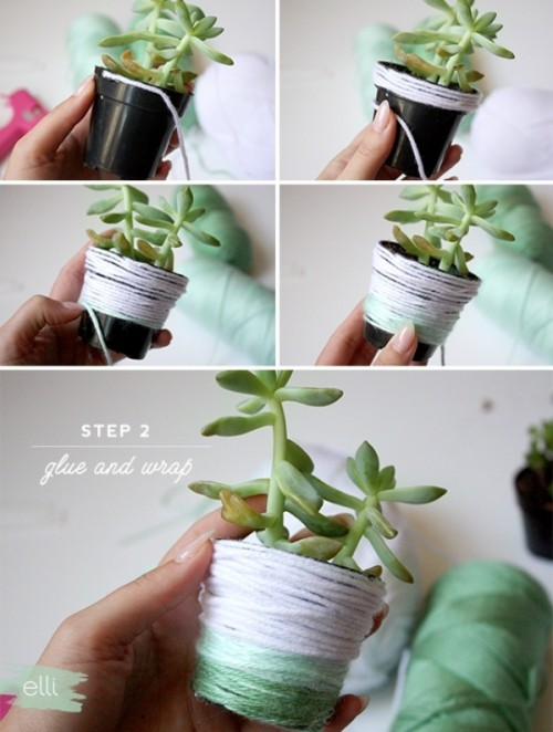 Cute And Personalized Diy Ombre Yarn Succulents Favors