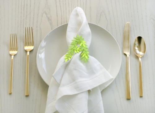 Cute And Personalized DIY Punched Leaf Napkin Rings