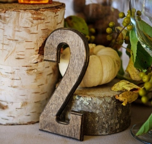 a plywood table number is a nice idea for a fall wedding centerpiece, you can pair it with pumpkins, greenery, stumps and other stuff