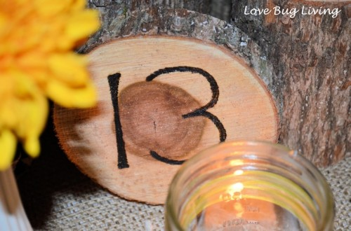 a burnt wood slice with a table number and a candle is a very stylish idea for a rustic fall wedding table setting