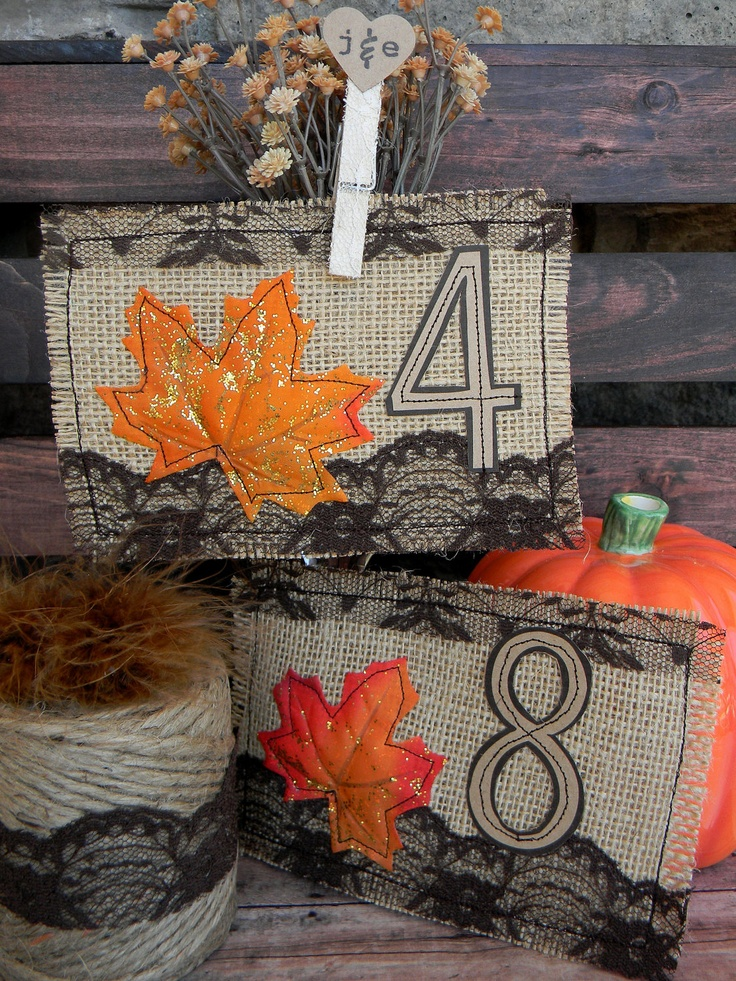 burlap table numbers with black lace and bright faux leaves are cool DIYs for your fall wedding