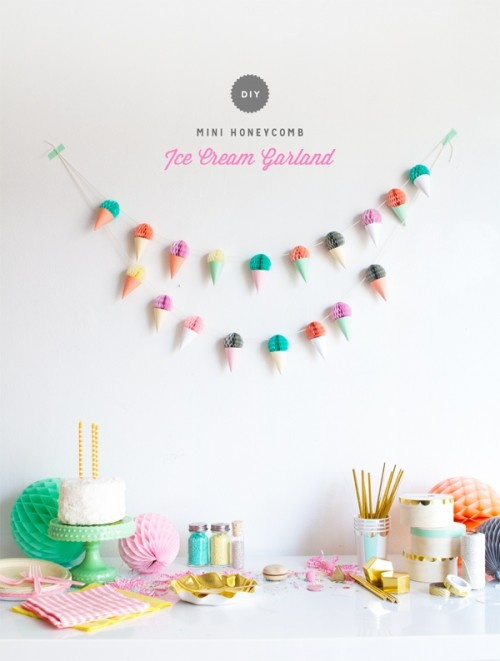 Cute DIY Ice Cream Garland Decor For Your Bridal Shower
