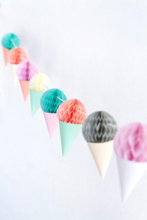 Cute DIY Ice Cream Garland Decor For Your Bridal Shower