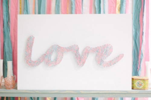 Cute Diy Threaded Love Sign For Your Wedding Decor
