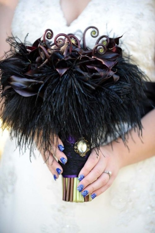 Dark Romance Halloween Wedding Bouquets