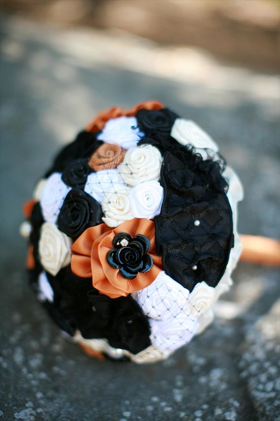 a Halloween bouquet of fabric flowers   white, orange, black ones with beads is a stylish idea that is eco friendly