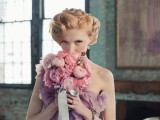 a beautiful and romantic strapless mauve wedding dress plus a matching bouquet of mauve, pink and blush blooms