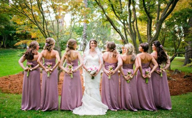 strapless mauve maxi bridesmaid dresses with sashes and ruffles are a delicate and unusual idea
