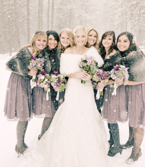 mauve knee gals' dresses with faux fur coverups are chic and non-typical for bridesmaids