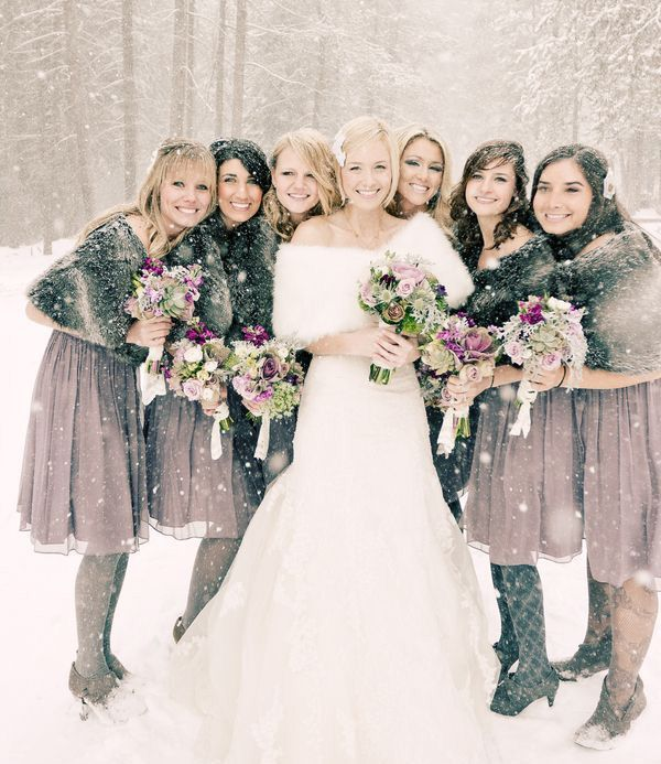 mauve knee gals' dresses with faux fur coverups are chic and non typical for bridesmaids