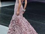 a draped mermaid mauve wedding dress with straps and a layered floral skirt will make a statement