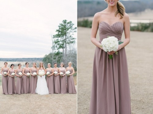 strapless mauve maxi dresses with draped bodices for bridesmaids are a great idea