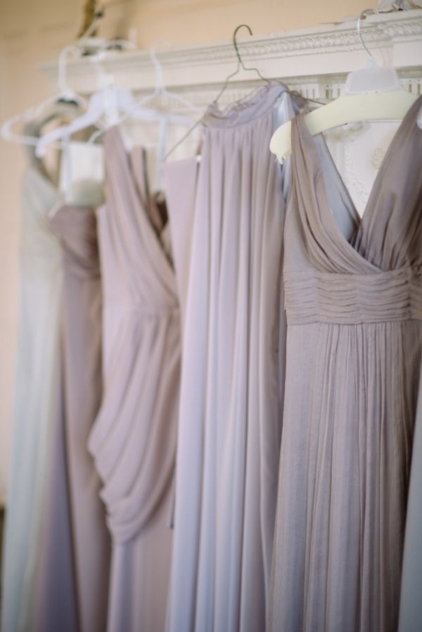 delicate mismatching mauve draped bridesmaid maxi dresses will be a nice choice for your wedding