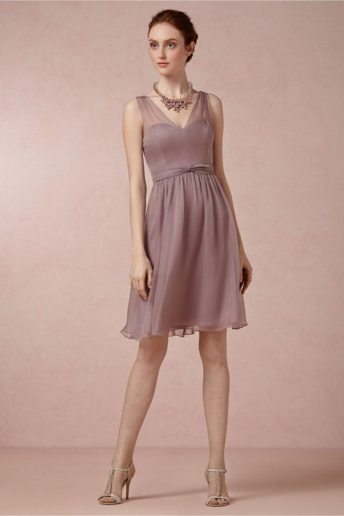 a beautiful mauve chiffon knee bridesmaid dress with a statement necklace is a nice idea for styling your gals