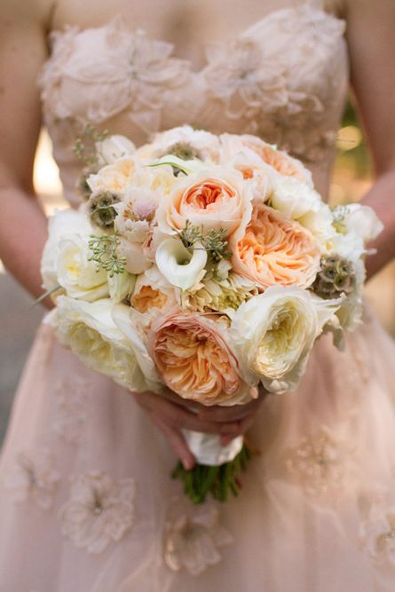 a delicate peachy and cream wedding bouquet with some seeded eucalyptus is a lovely and chic idea
