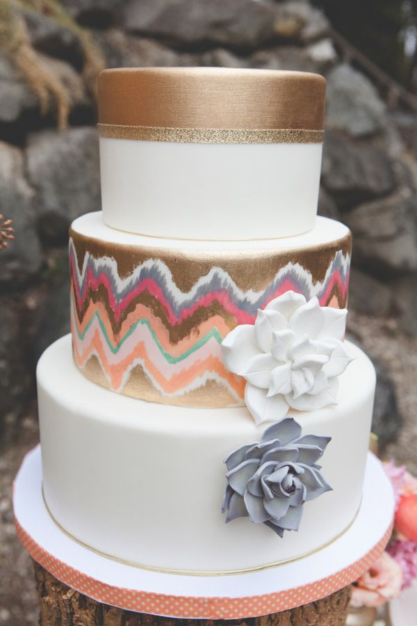 Picture Of Delicious And Beautiful Boho Chic Wedding Cake 10