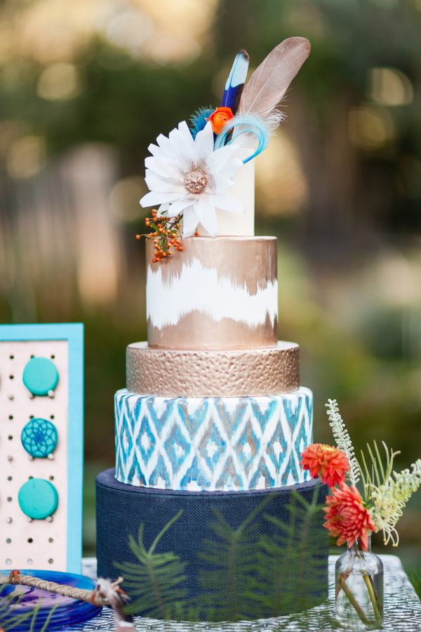 Picture Of Delicious And Beautiful Boho Chic Wedding Cake 16