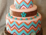 a colorful geometric tier wedding cake with bright pebbles of sugar, beads and sugar blooms for a mid-century boho feel