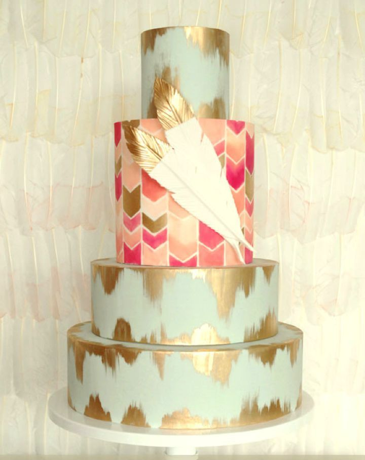 Picture of delicious and beautiful boho chic wedding cake 9