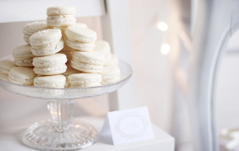 white vanilla macarons are a perfect addition to your dessert table or even a substitution to your wedding cake