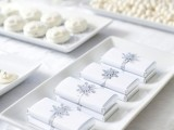 all-white winter wedding desserts – candies, Pavlovas and chocolate bars
