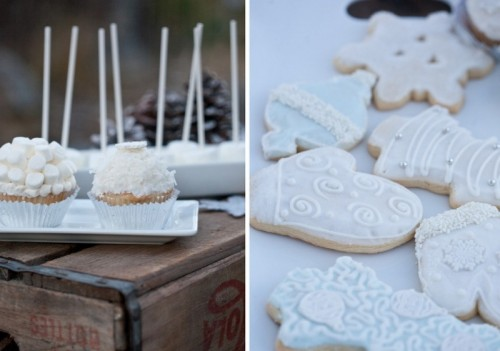 cookies with white icing and some cupcakes with icing and marshmallows on top are great for a frozen or snowy winter wedding