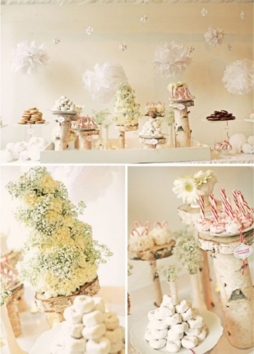 desserts done in white and topped with candy canes are always great for a winter or Christmas wedding