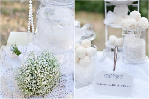 all-white candy pops and candies are amazing to finish off your winter wedding dessert table