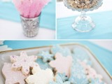 snowflake and men gingerbread cookies with pastel icing are very cool and unsuaul to style your winter wedding dessert table