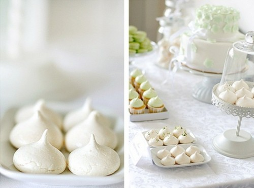 white meringues are amazing for a winter wedding dessert table, though they may be served in any season